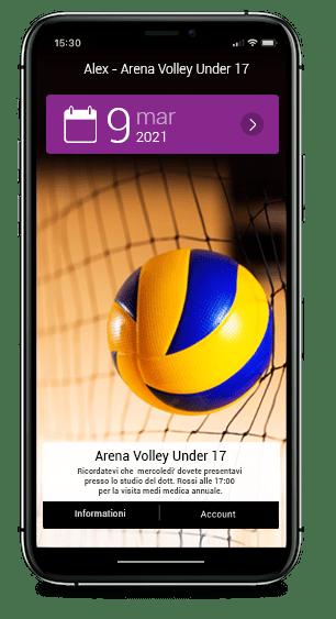 pallavolo pallone giallo blu in rete